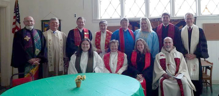 Clergy members of the Old Colony Association gathered to celebrate the installation of a new church pastor.